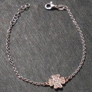 Silver and rose gold Four Leaf Clover bracelet